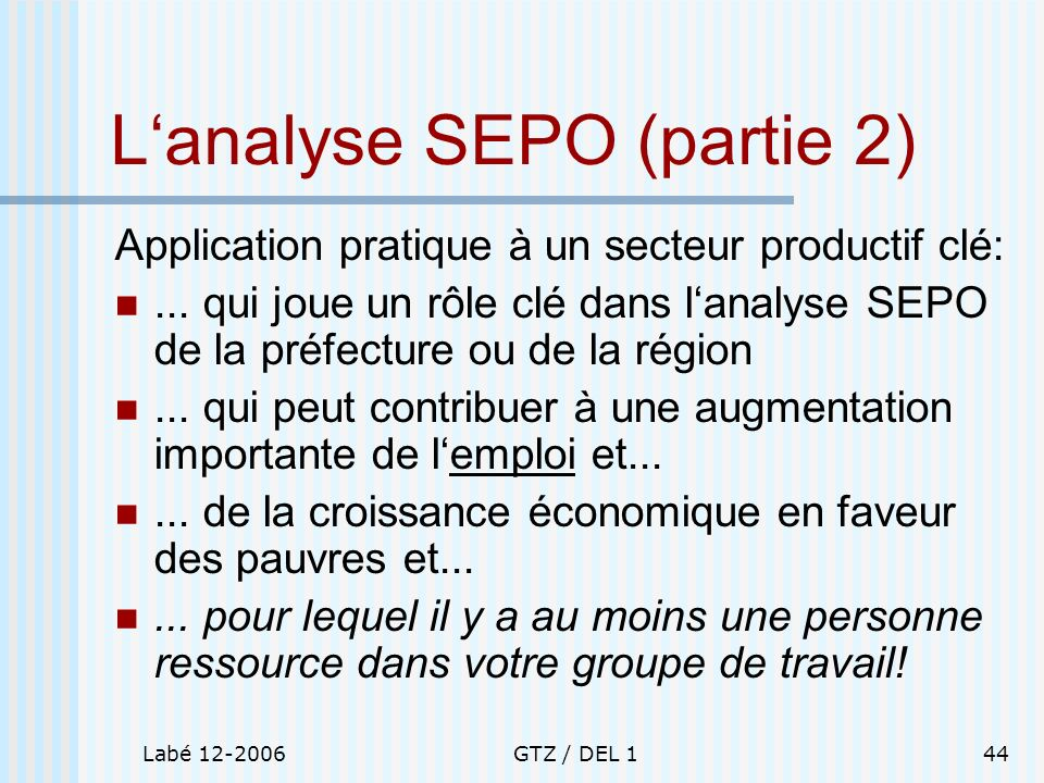 L'analyse SEPO (partie 2)