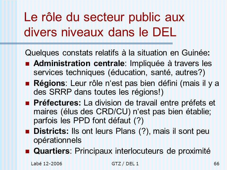 Le rôle du secteur public aux divers niveaux dans le DEL