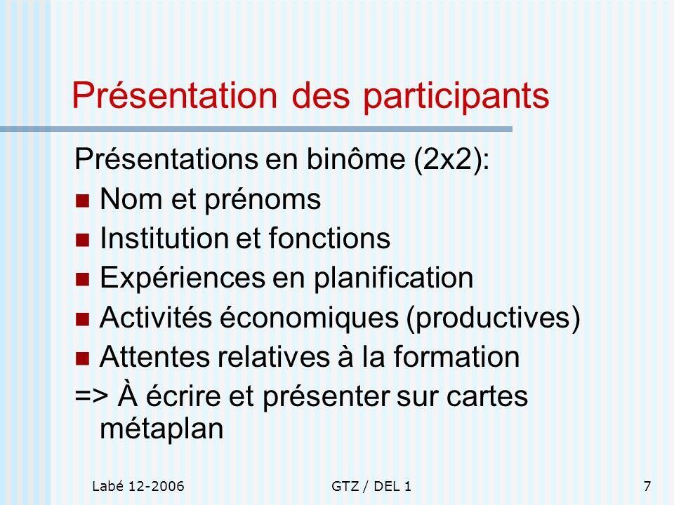 Présentation des participants
