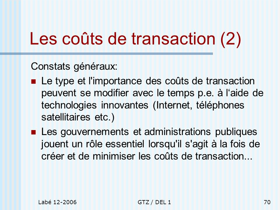 Les coûts de transaction (2)