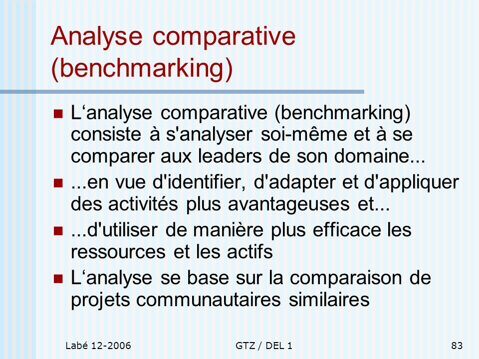 Analyse comparative (benchmarking)