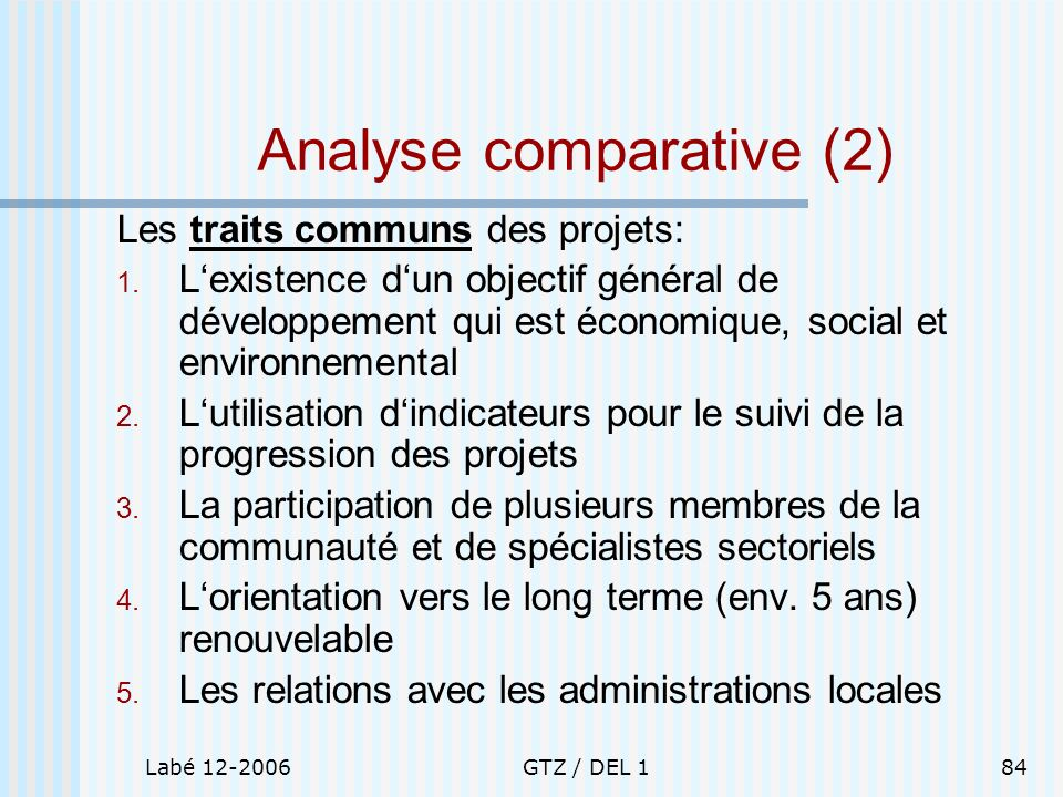 Analyse comparative (2)