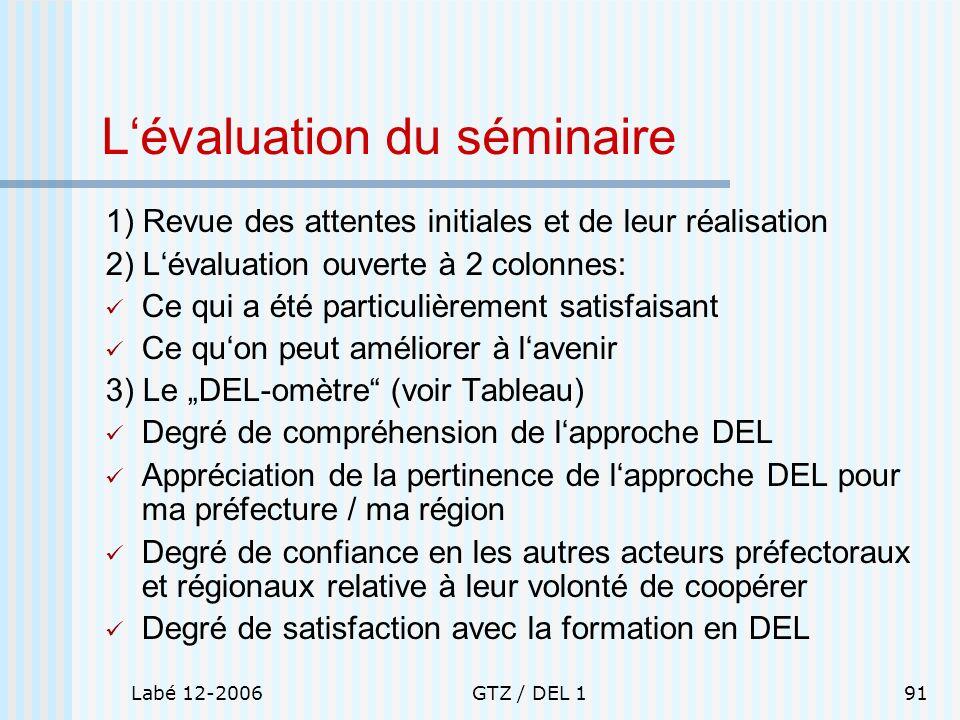 L'évaluation du séminaire