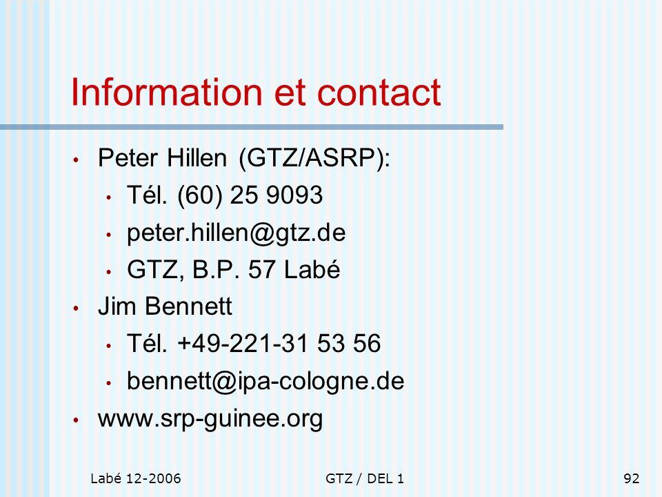 Information et contact