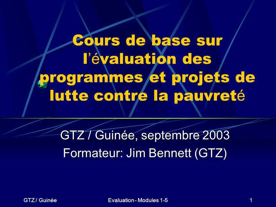 GTZ / Guinée, septembre 2003 Formateur: Jim Bennett (GTZ)