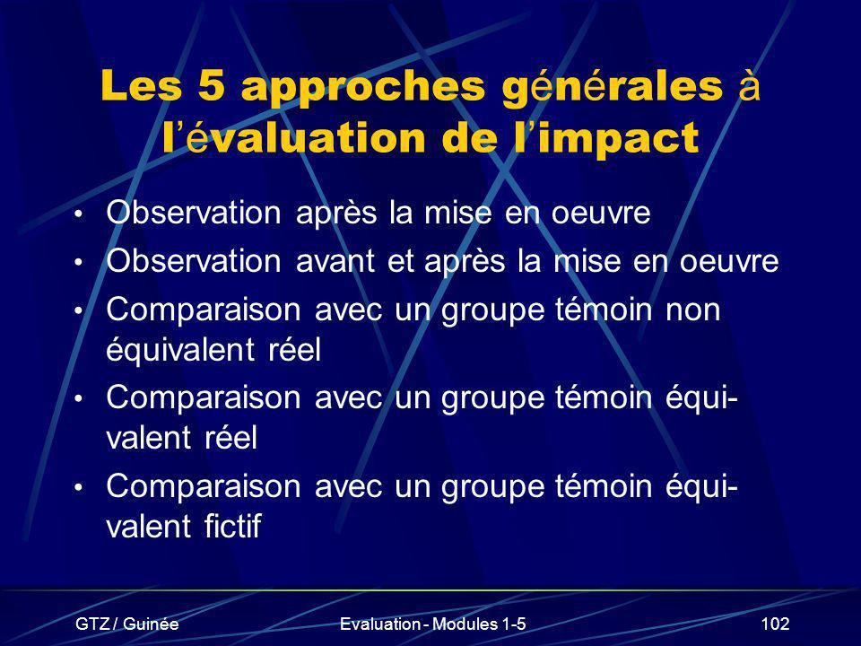 Les 5 approches générales à l'évaluation de l'impact