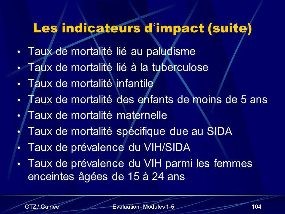 Les indicateurs d'impact (suite)