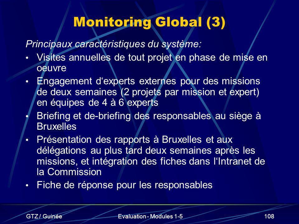 Monitoring Global (3) Principaux caractéristiques du système: