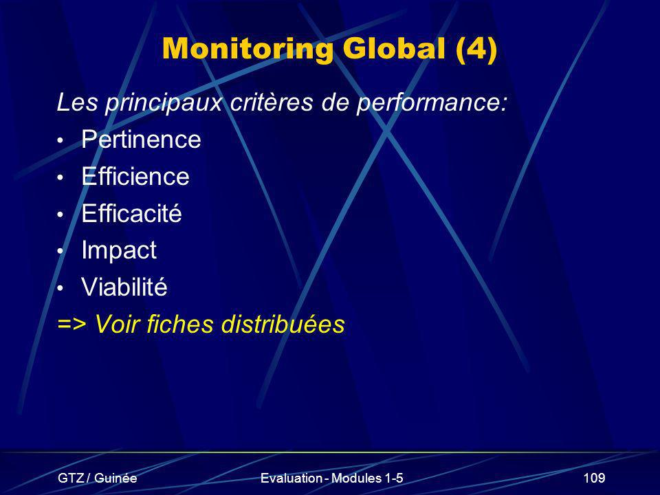 Monitoring Global (4) Les principaux critères de performance: