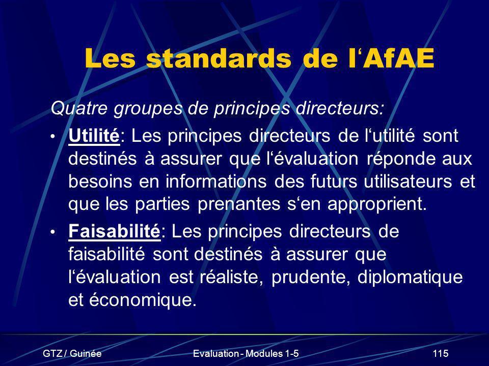Les standards de l'AfAE