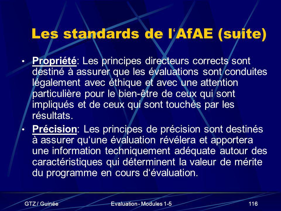 Les standards de l'AfAE (suite)