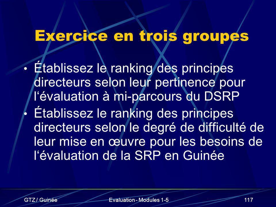 Exercice en trois groupes