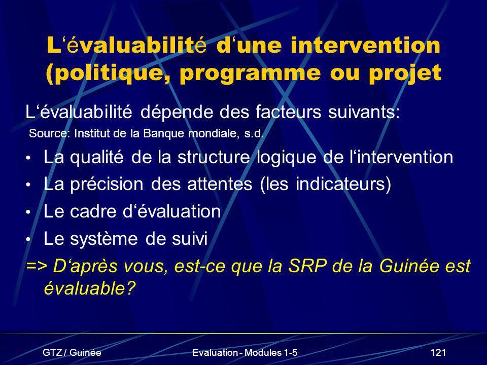 L'évaluabilité d'une intervention (politique, programme ou projet