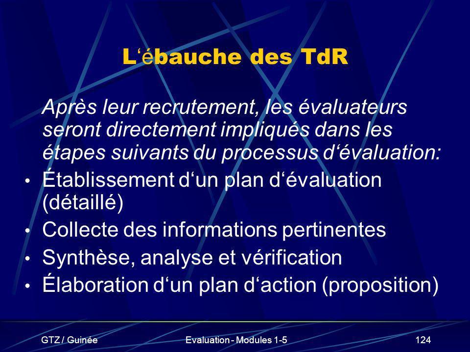 L'ébauche des TdRAprès leur recrutement, les évaluateurs seront directement impliqués dans les étapes suivants du processus d'évaluation: