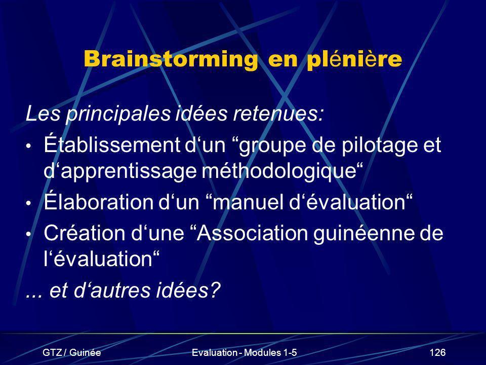 Brainstorming en plénière