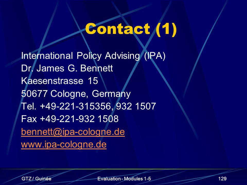 Contact (1) International Policy Advising (IPA) Dr. James G. Bennett