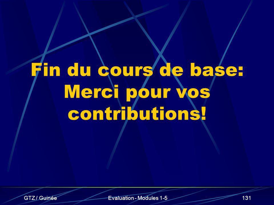 Fin du cours de base: Merci pour vos contributions!
