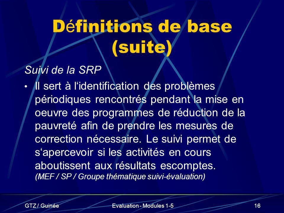 Définitions de base (suite)
