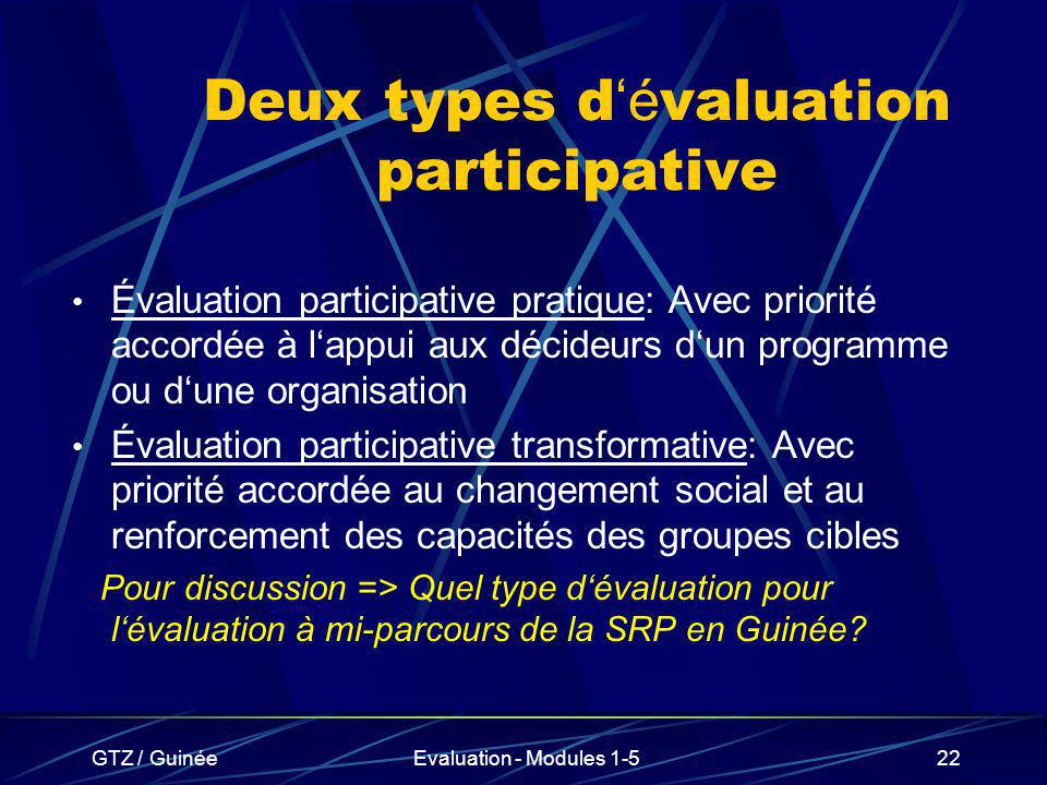 Deux types d'évaluation participative