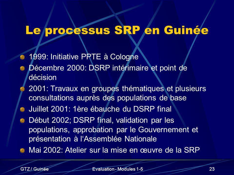 Le processus SRP en Guinée
