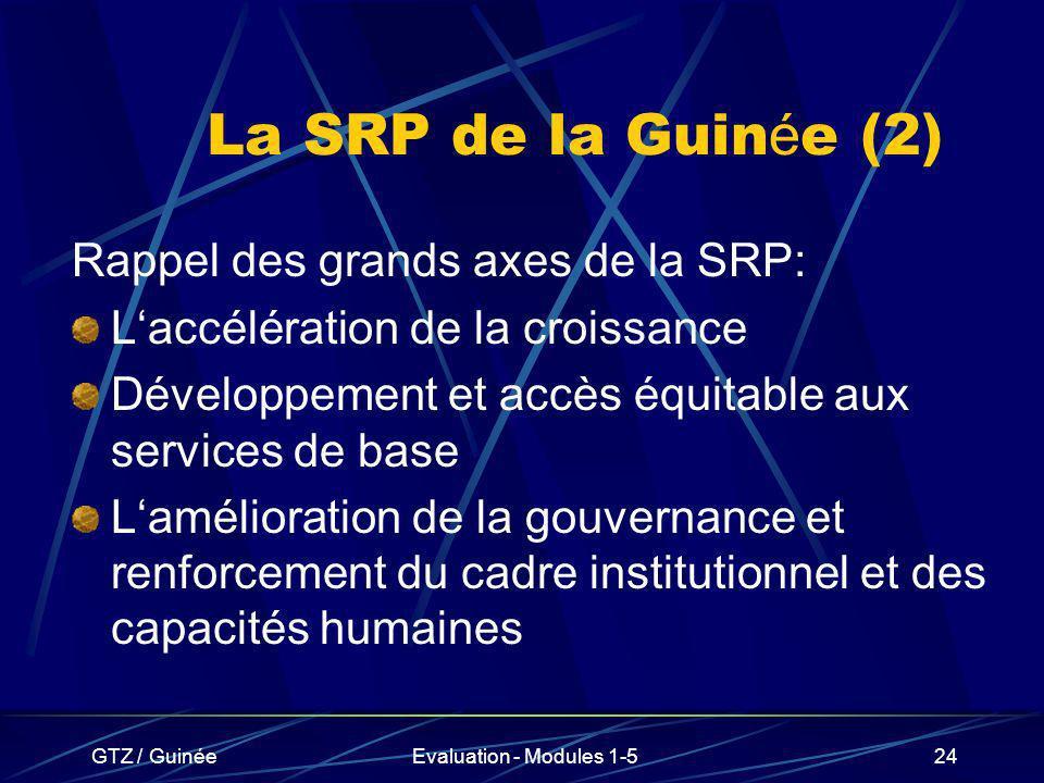 La SRP de la Guinée (2) Rappel des grands axes de la SRP: