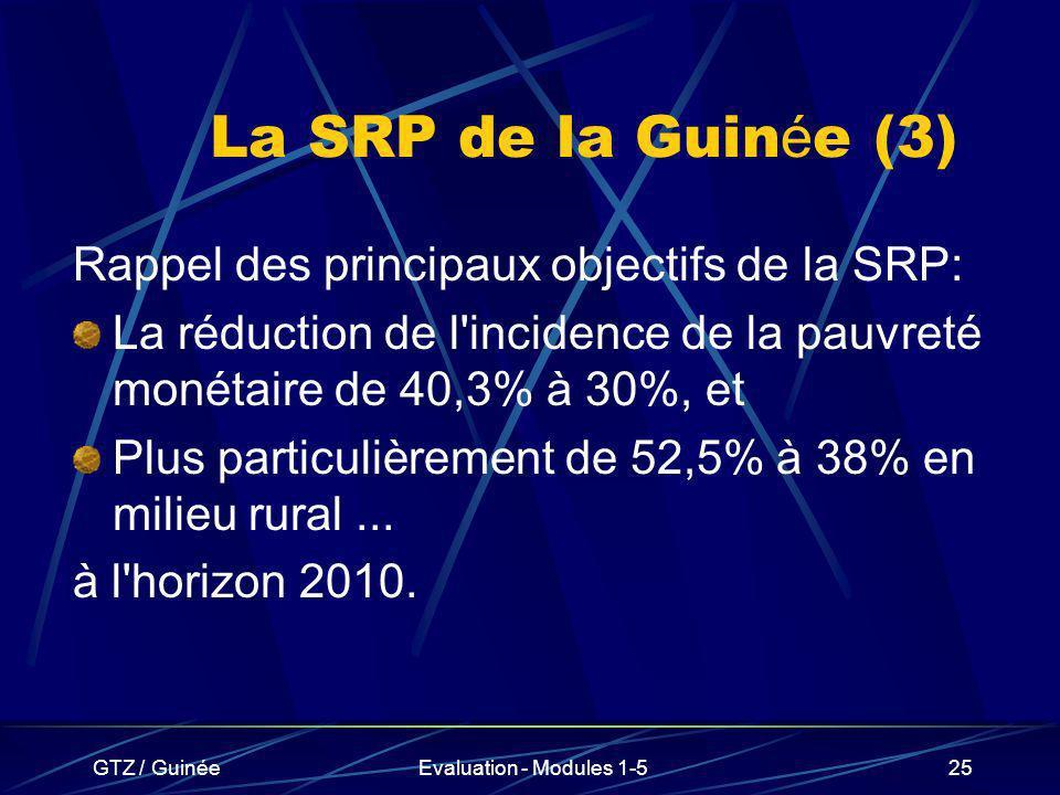 La SRP de la Guinée (3) Rappel des principaux objectifs de la SRP: