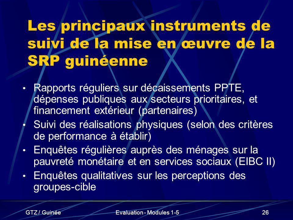 Les principaux instruments de suivi de la mise en œuvre de la SRP guinéenne