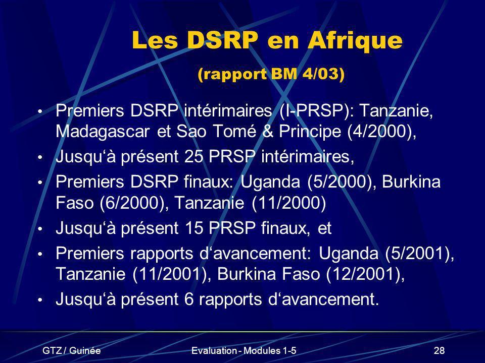 Les DSRP en Afrique (rapport BM 4/03)
