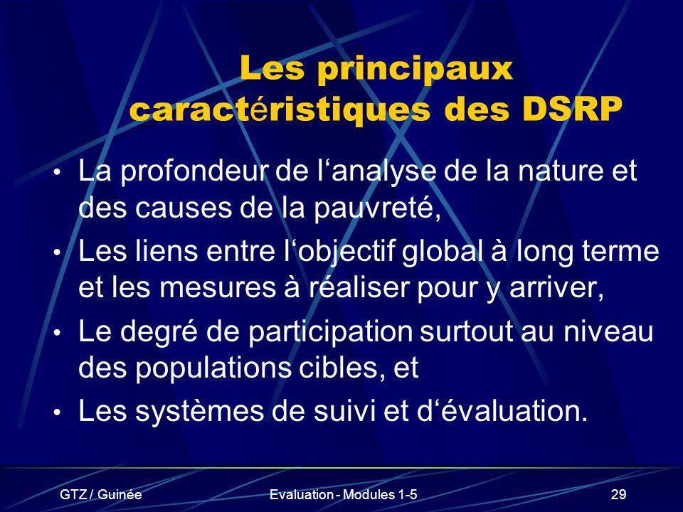 Les principaux caractéristiques des DSRP