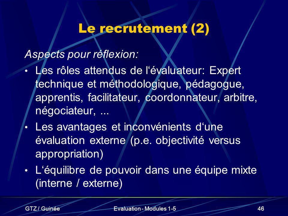 Le recrutement (2) Aspects pour réflexion:
