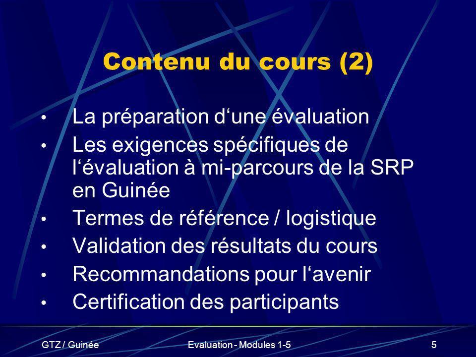 Contenu du cours (2) La préparation d'une évaluation