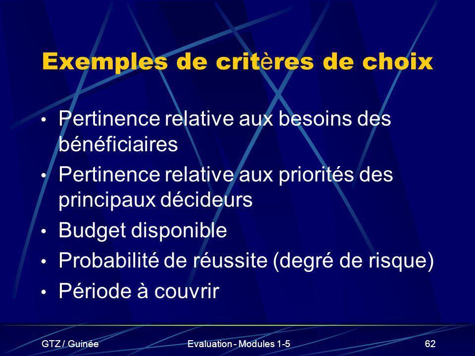 Exemples de critères de choix