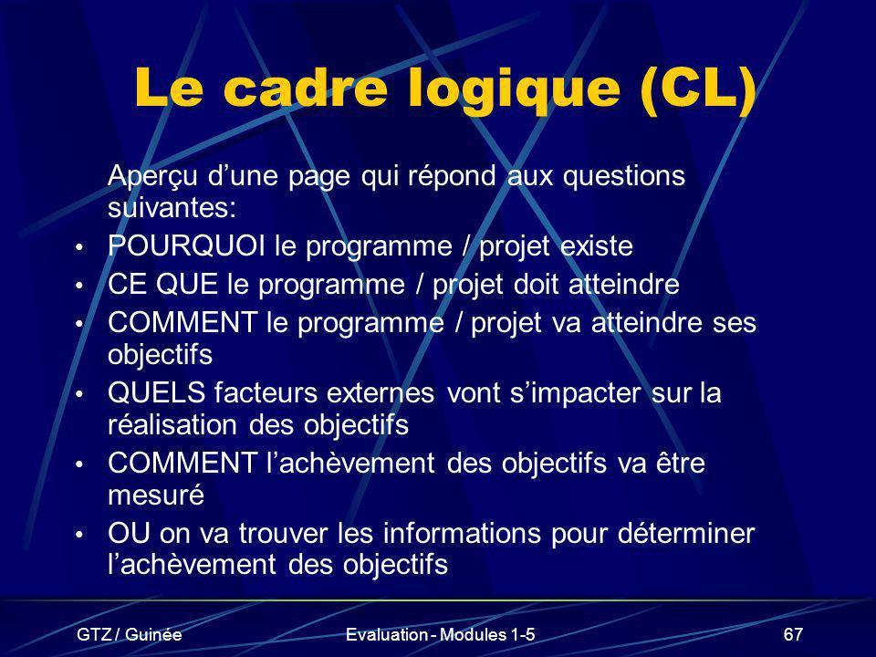 Le cadre logique (CL) Aperçu d'une page qui répond aux questions suivantes: POURQUOI le programme / projet existe.