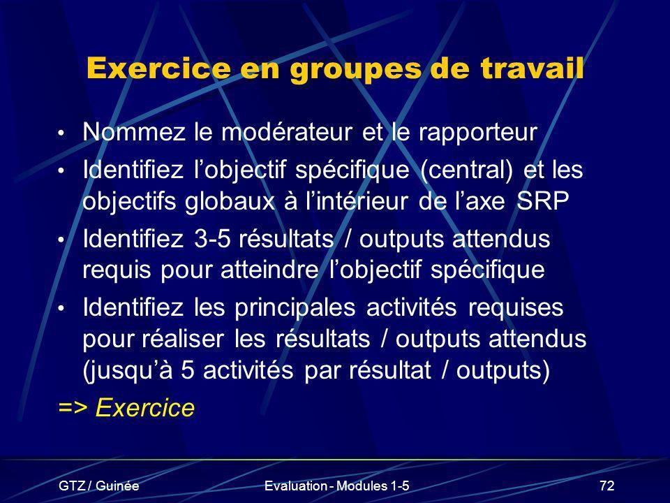 Exercice en groupes de travail