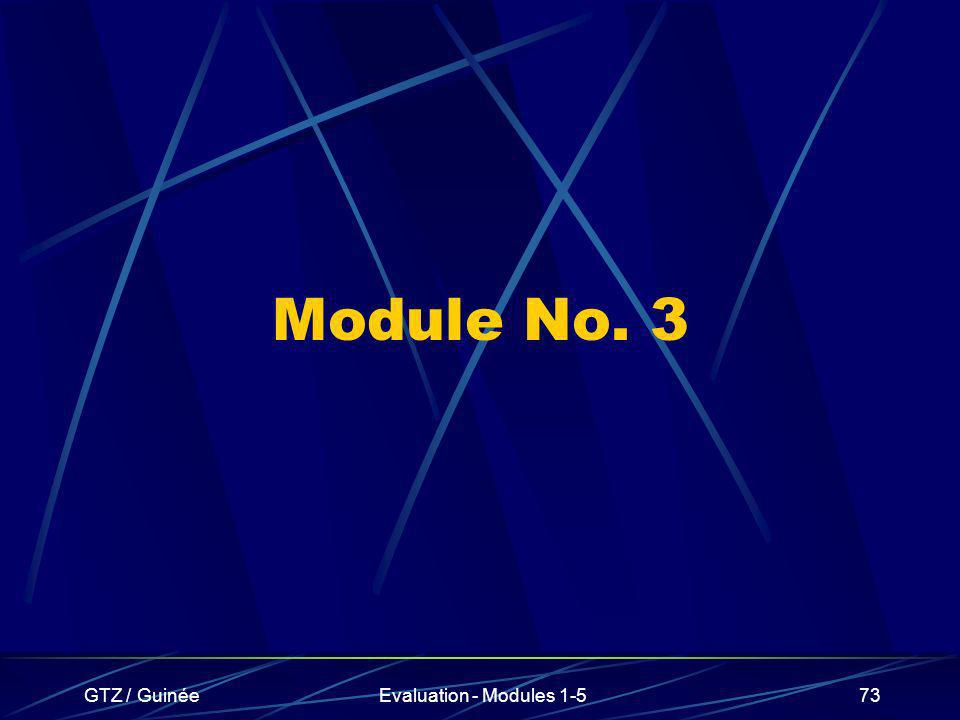 Module No. 3 GTZ / Guinée Evaluation - Modules 1-5