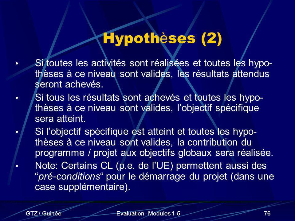 Hypothèses (2) Si toutes les activités sont réalisées et toutes les hypo-thèses à ce niveau sont valides, les résultats attendus seront achevés.