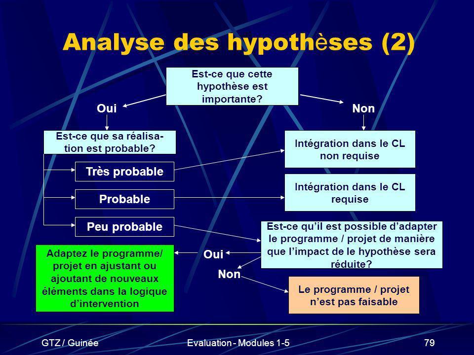Analyse des hypothèses (2)