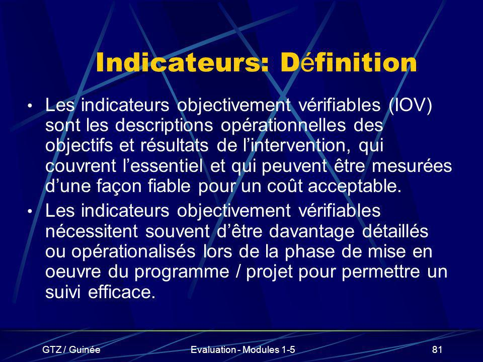 Indicateurs: Définition