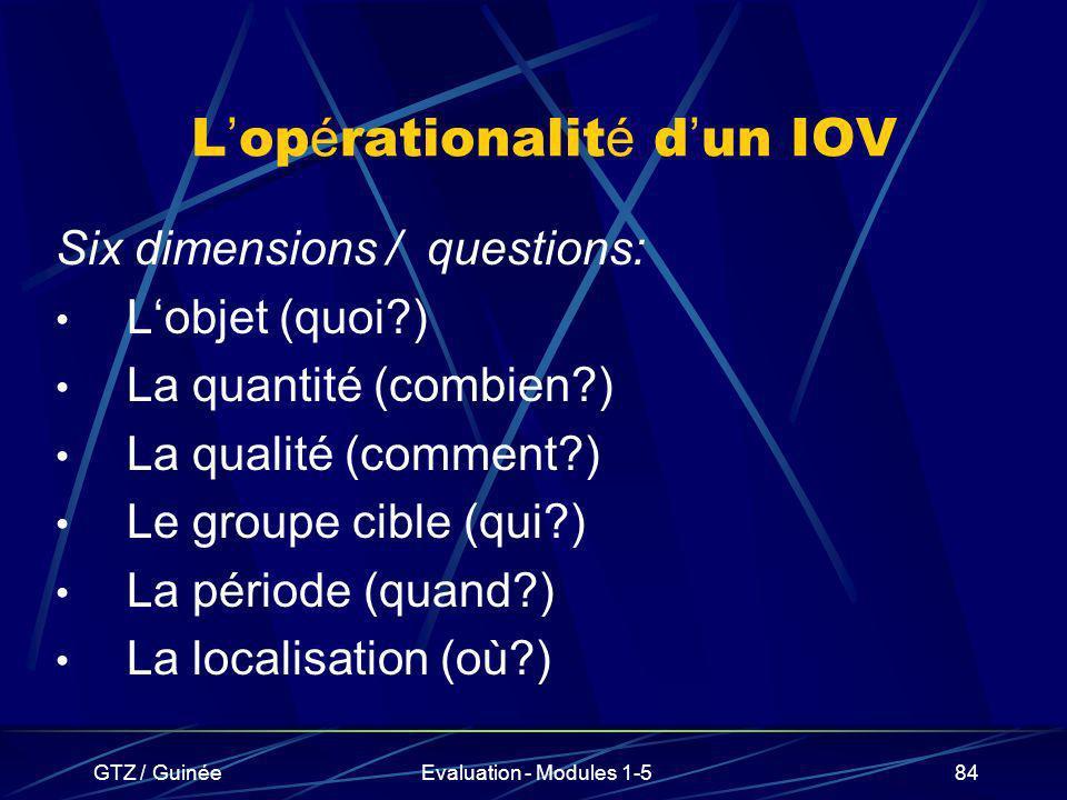 L'opérationalité d'un IOV