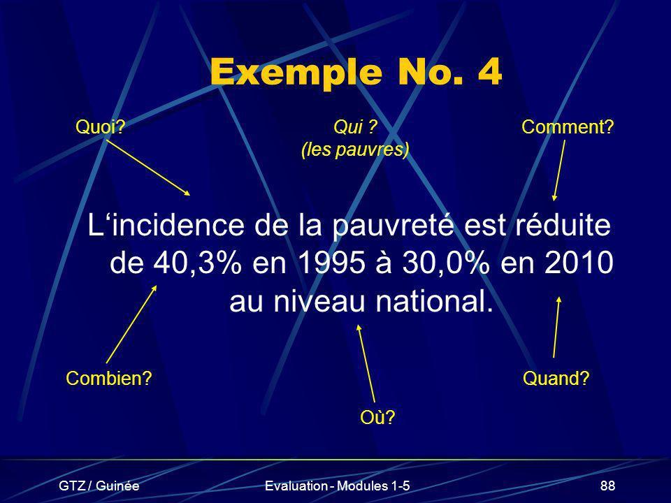Exemple No. 4 Quoi Qui (les pauvres) Comment L'incidence de la pauvreté est réduite de 40,3% en 1995 à 30,0% en 2010 au niveau national.