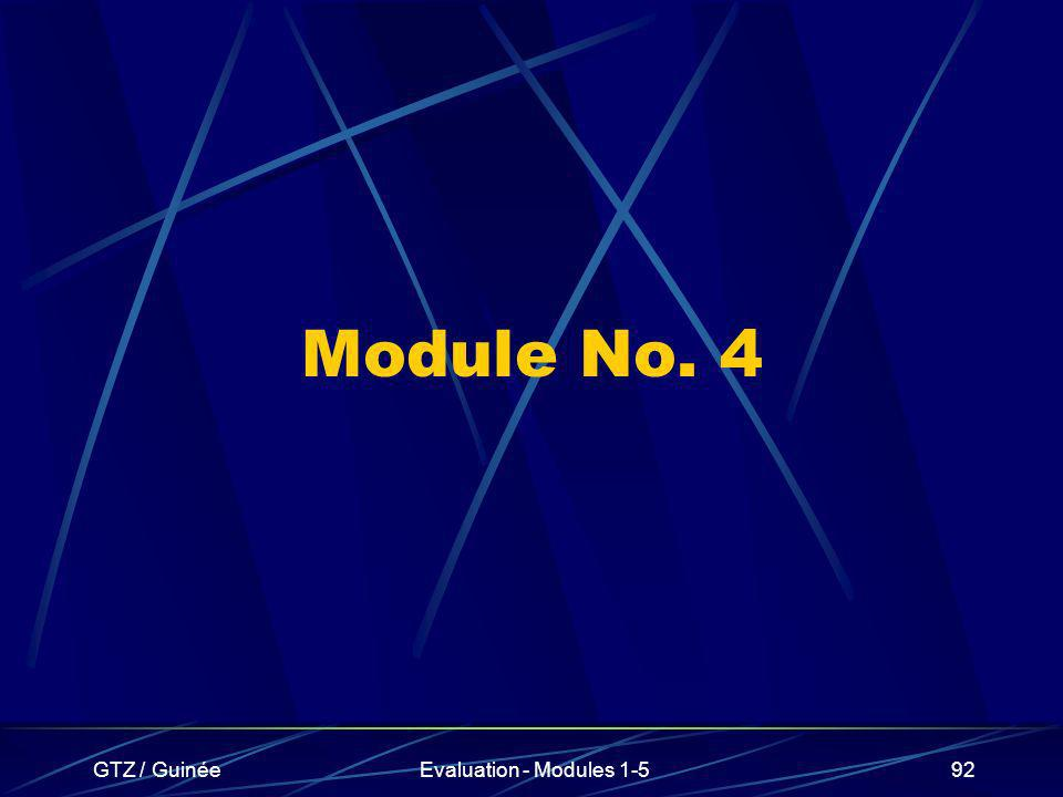 Module No. 4 GTZ / Guinée Evaluation - Modules 1-5