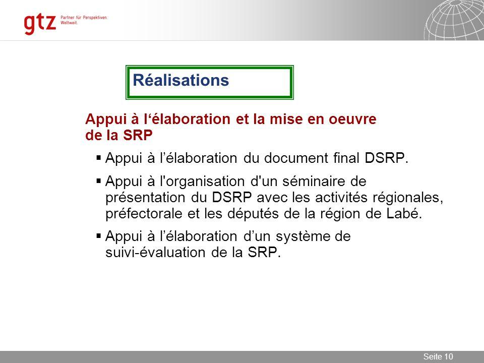 Réalisations Appui à l'élaboration et la mise en oeuvre de la SRP