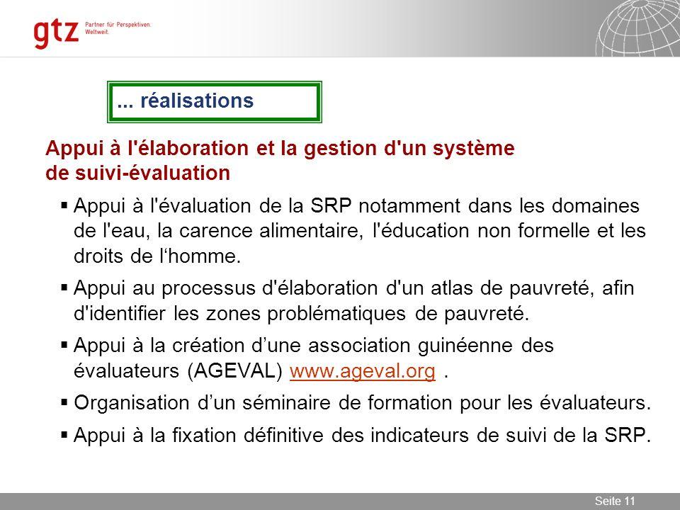 ... réalisations Appui à l élaboration et la gestion d un système de suivi-évaluation.