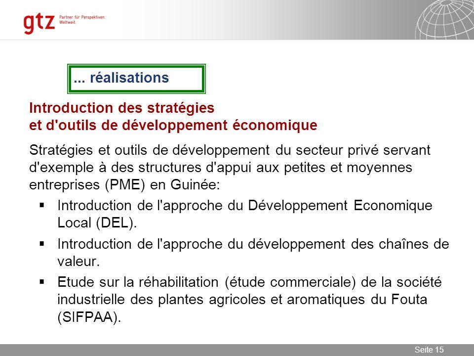 ... réalisations Introduction des stratégies et d outils de développement économique.