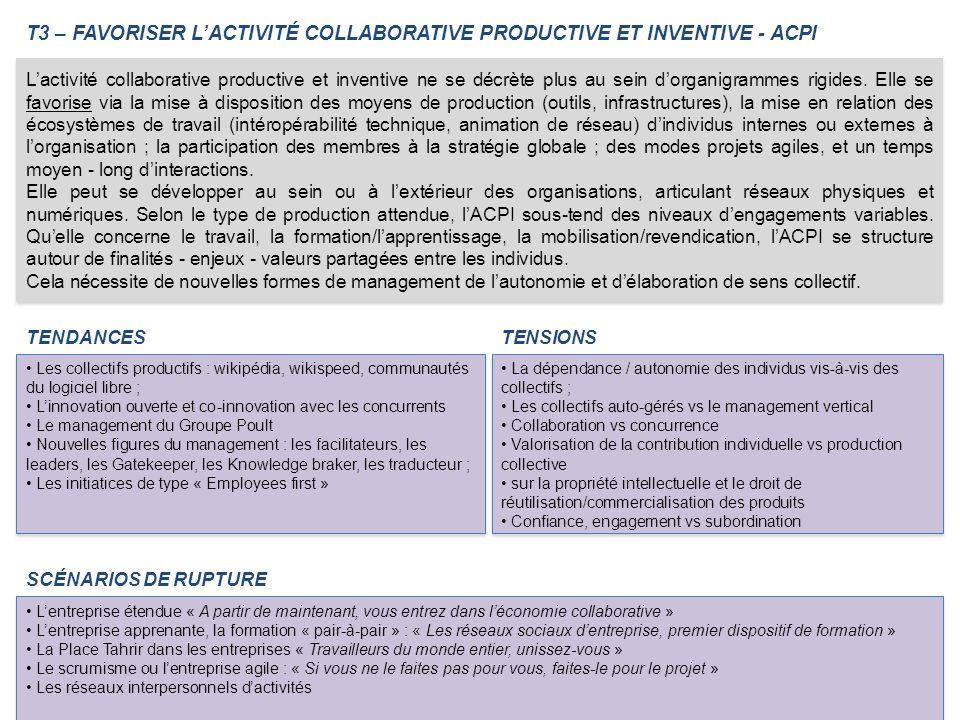 T3 – FAVORISER L'ACTIVITÉ COLLABORATIVE PRODUCTIVE ET INVENTIVE - ACPI