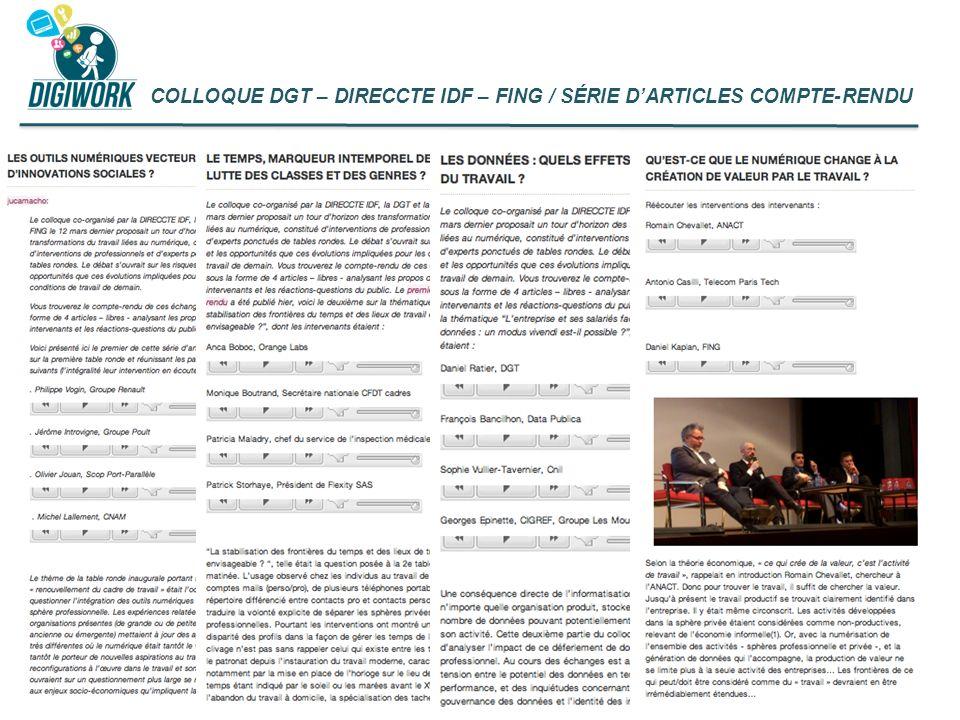 COLLOQUE DGT – DIRECCTE IDF – FING / SÉRIE D'ARTICLES COMPTE-RENDU
