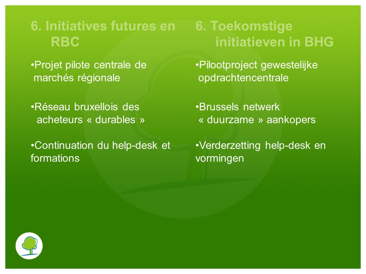 6. Initiatives futures en RBC 6. Toekomstige initiatieven in BHG