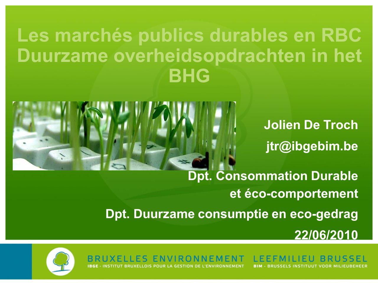 Les marchés publics durables en RBC Duurzame overheidsopdrachten in het BHG