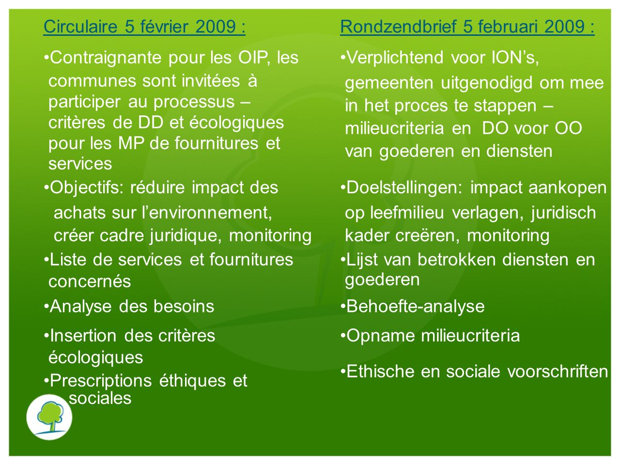 Circulaire 5 février 2009 :Rondzendbrief 5 februari 2009 : Contraignante pour les OIP, les. communes sont invitées à.