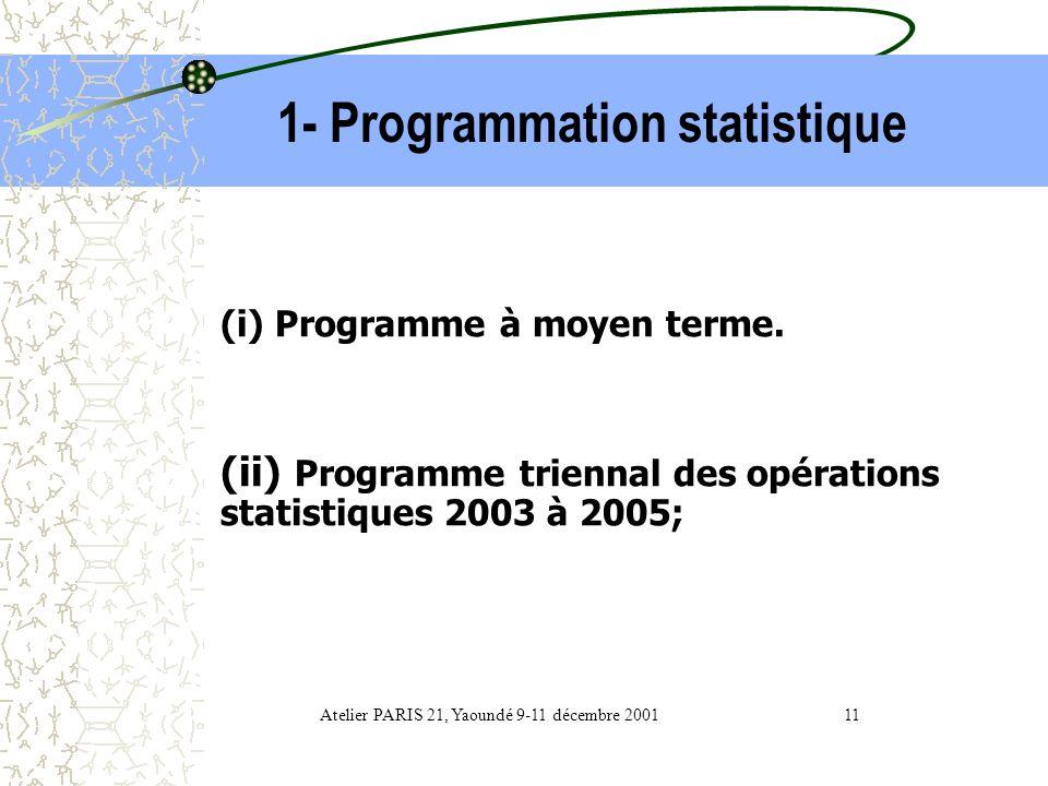 1- Programmation statistique